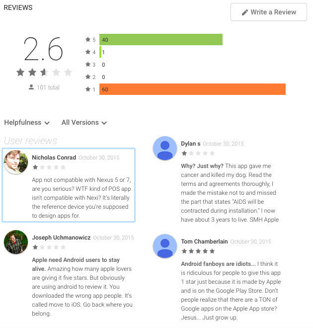 Customer reviews based on the app they use