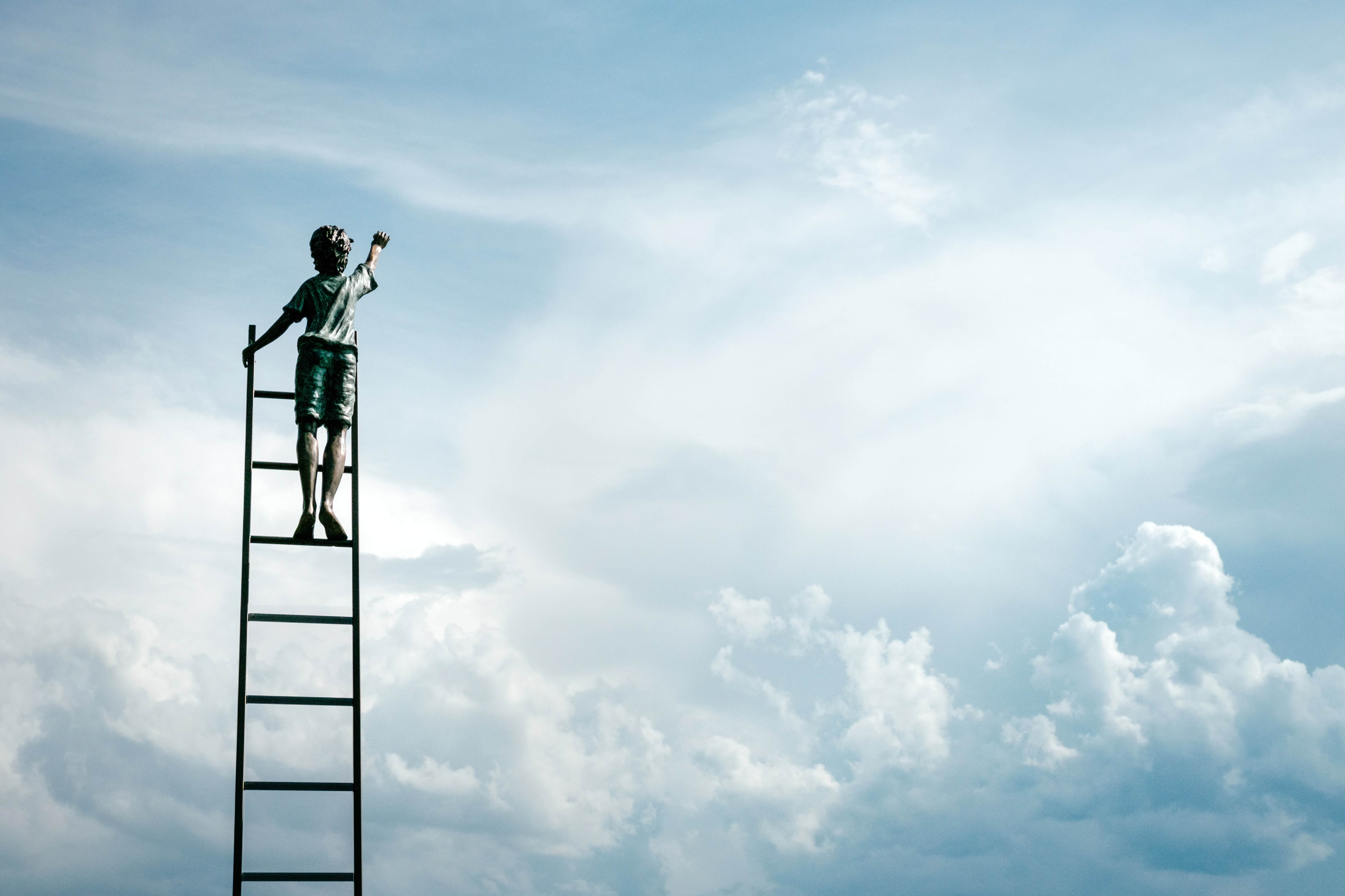 A man climbing a ladder in the sky