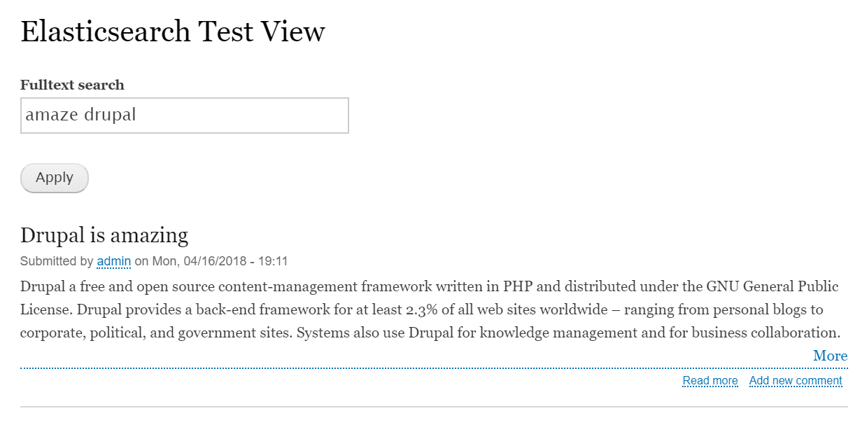Example of a full-text search using Drupal view