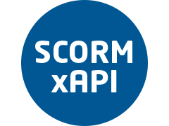 Blue background where SCORM xAPI is written in white color