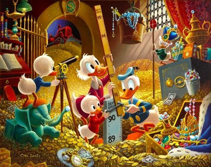 Image of McDuck with donal duck and his two grandsons measuring  the room full of gold coins