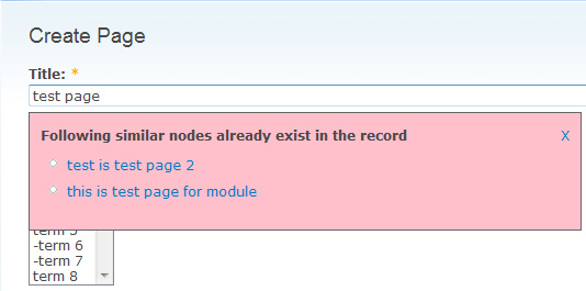 Screenshot of a page where a pink dialogue box states that there are similar nodes which already exist in the records