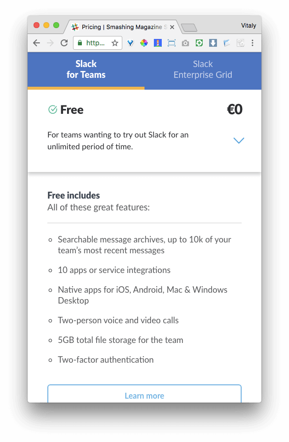 Slack pricing describing accordion functionality on mobile.