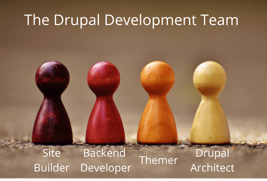 There four game pieces denoting the four members of the Decoupled Drupal team.