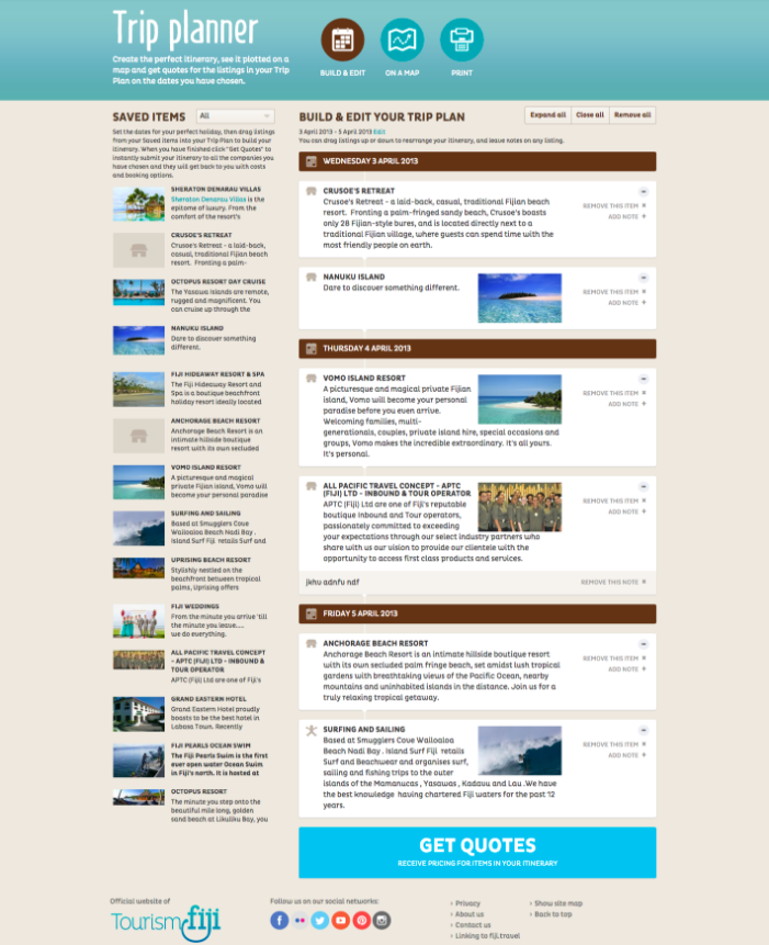 Travel planner for travel websites in Drupal