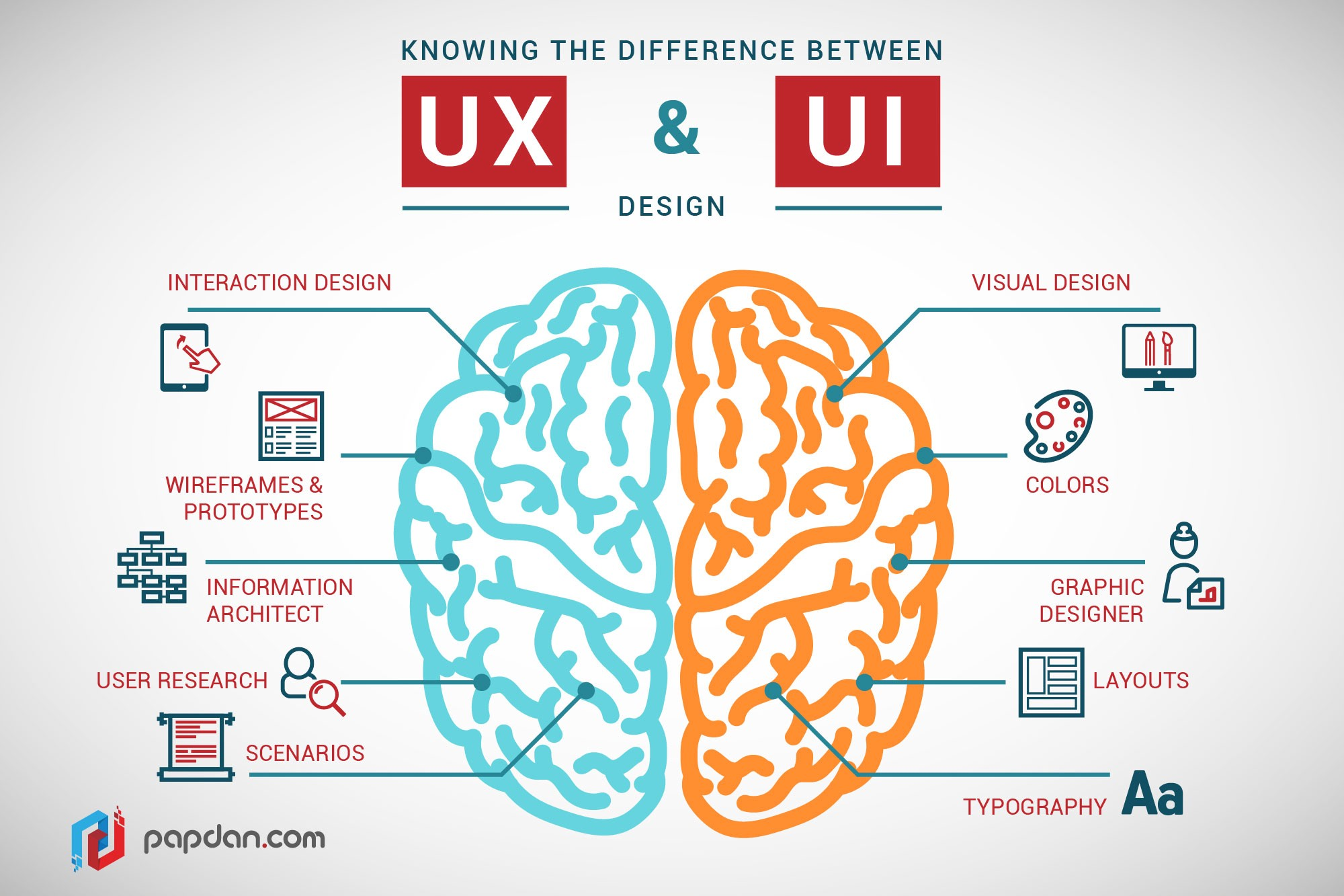 An infographic showing difference between user experience and user interface with an image of human brain at the centre