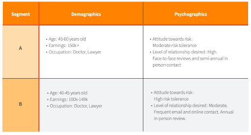 A chart showing demographics and psychographics