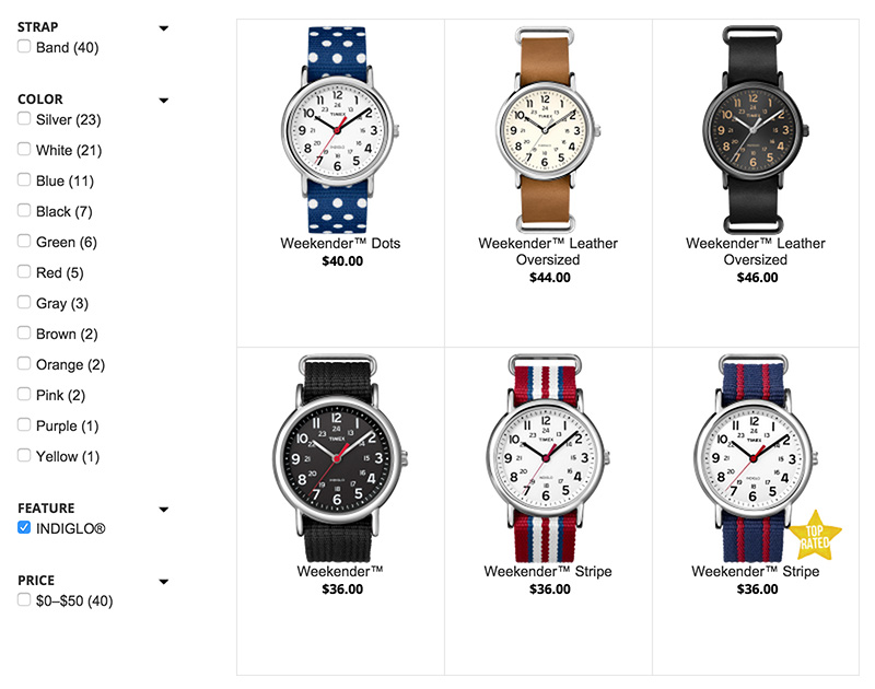 The screenshot of Timex's website is presented with a number of watches from the catalogue.