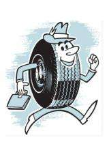 blog image with an illustration showing a tyre with a face running