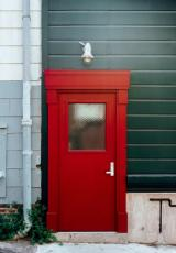 a red security door