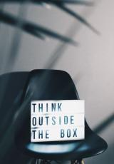 A gadget displaying 'think outside the box'