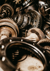 Assorted brown gear parts