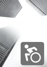 Grey skyscrapers with an animated wheelchair bound person in the bottom right corner