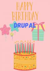 pink background with cake and decor, yelloe text reading 'happy birthday Drupal'