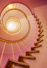 A round staircase can be seen.""